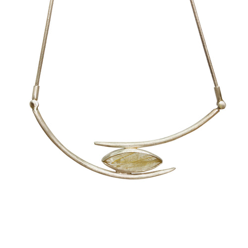 Rutilated Quartz Ellipse Adjustable Necklace
