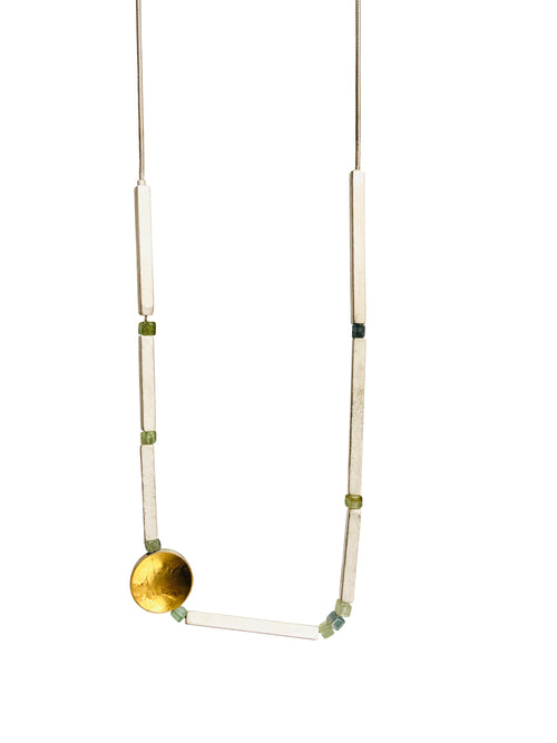 Square Silver Tube Necklace with Tourmaline and 24kt Keum-boo Accent