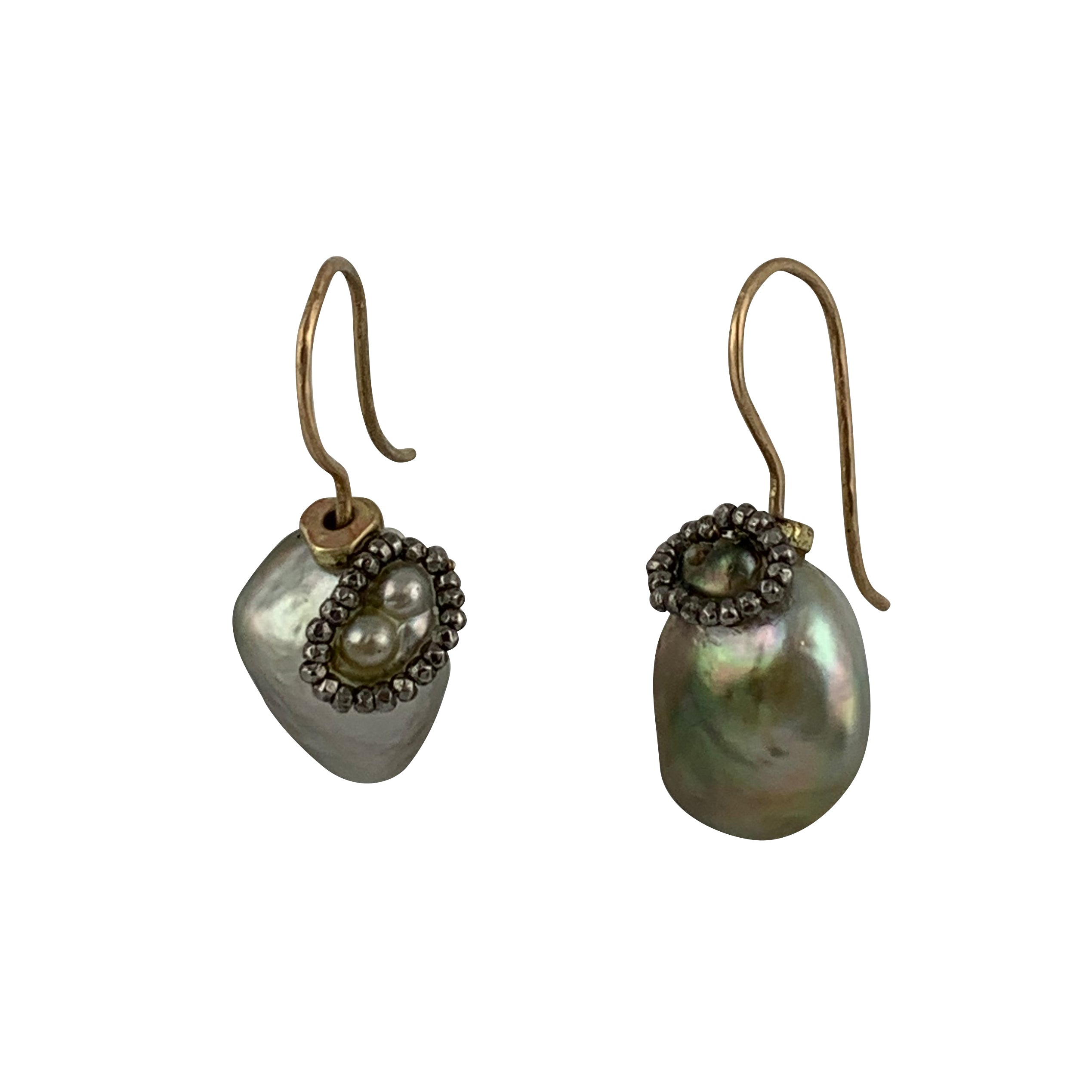 Tahitian Baroque Bi-Color Pearls Earrings