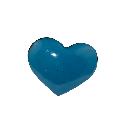 Blue (Darker) Enamel Fearless Heart Pin or Brooch