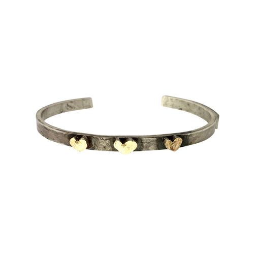Sterling Silver Cuff Bracelet with 3 Gold Freeform Fearless Hearts
