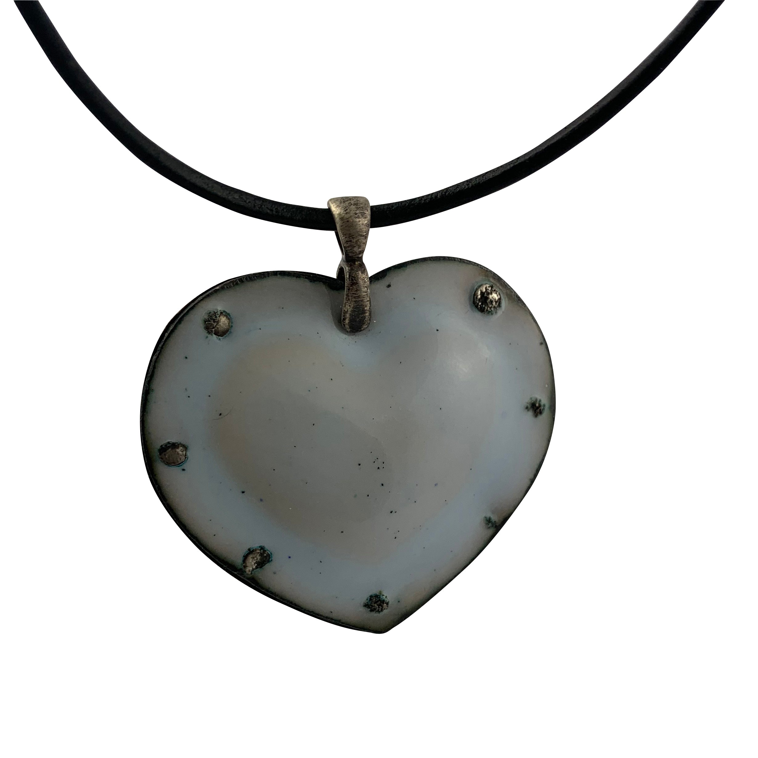 Fearless Heart Light Blue  Enamel Pendant