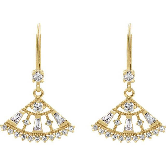 14k Gold Diamond Lever Back Earrings