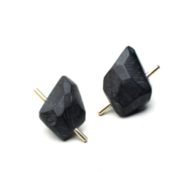 Black Gold Rock Earrings - L