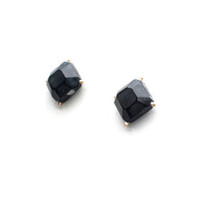 Black Gold Emerald Shape Earrings - Lireille