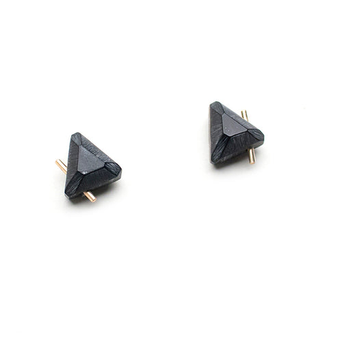 Black Gold Trilateral Earrings - S - Lireille