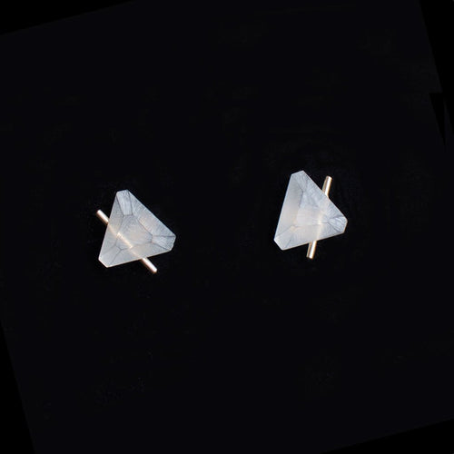 White Gold Trilateral Earrings - S