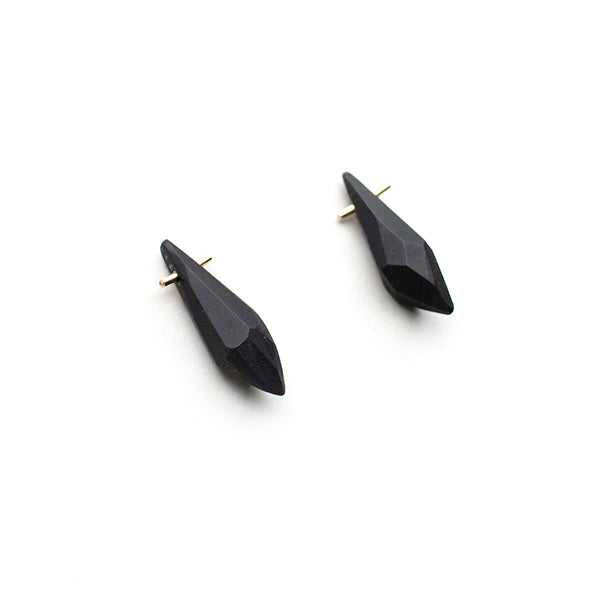Black Gold White Acrylic Crystal Earrings - Lireille