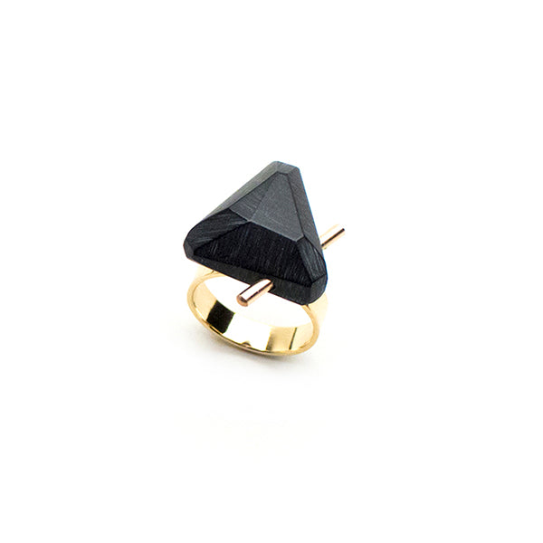 Black Gold Trilateral Ring