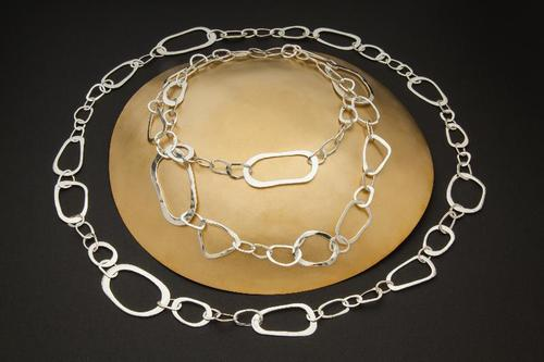 Long Forged Fine Silver Chain