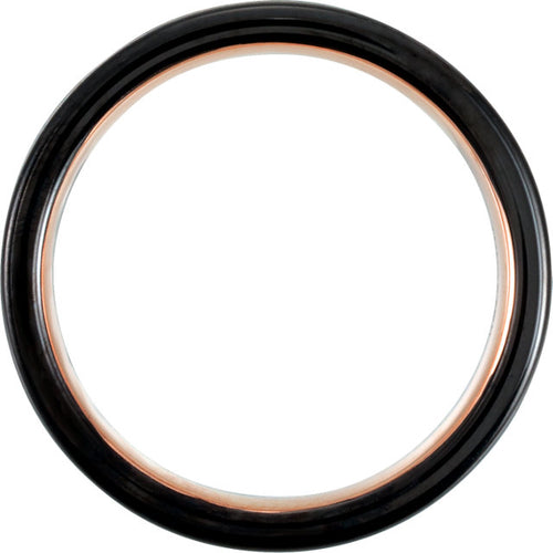 Black & 18K Rose Gold PVD Tungsten Band