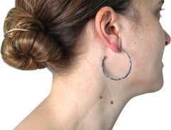 FOLD Stationary Hoop Earrings in Patinated Sterling Silver