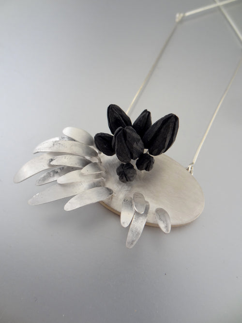 Silver and Polymer Clay Black Berries Necklace