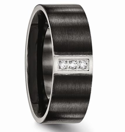 Stainless Steel Brushed Black IP Flat Three CZ Ring