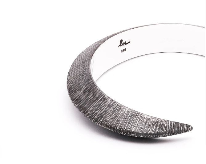 Horned Band Textured Silver Bracelet