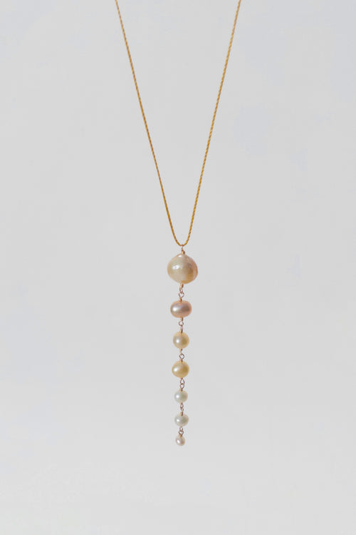 Cascade necklace with baroque pearl