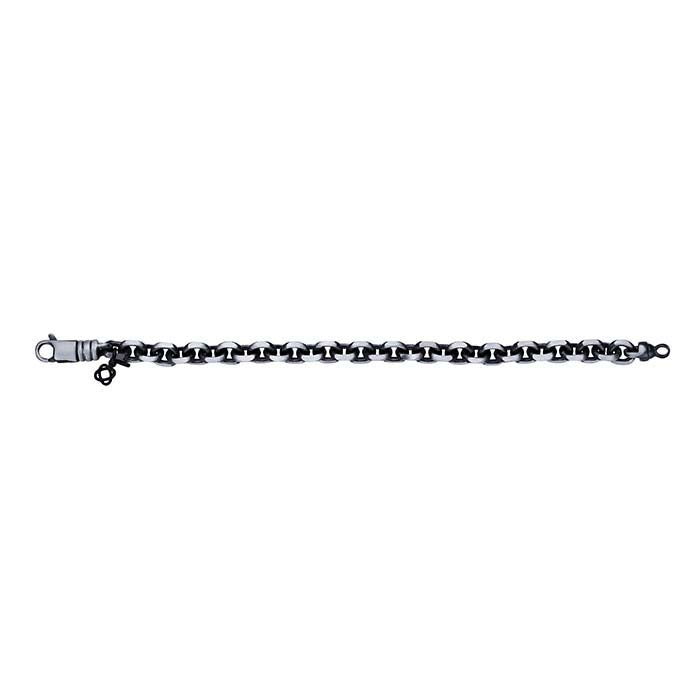 Sterling Silver Gunmetal 9mm Diamond-Cut Cable Chain Bracelet