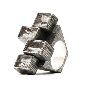 Sculptural Crystal Composition Ring