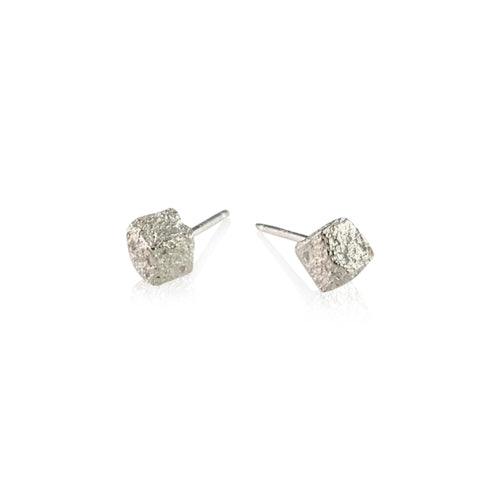 CUBE STUD - Bright or Oxidized