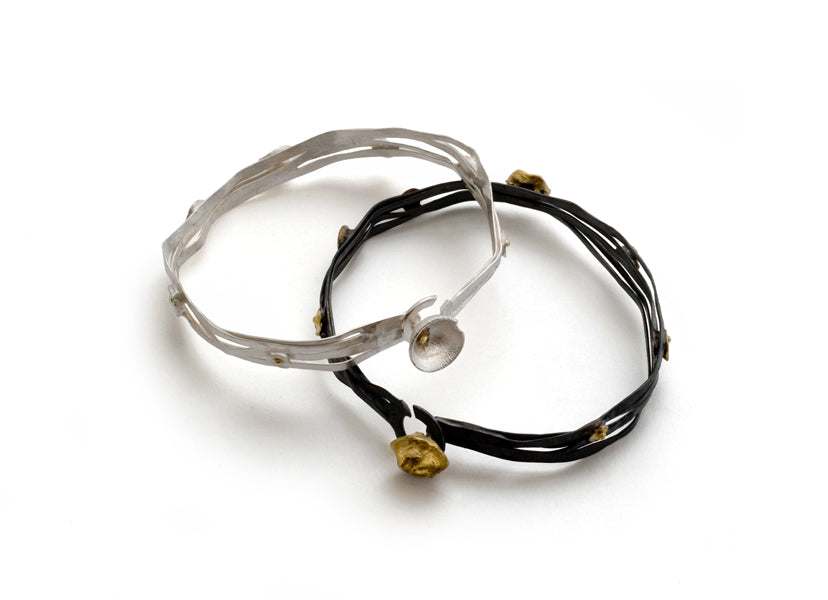 Acorn Cup wrap bangle in 18k gold and sterling silver