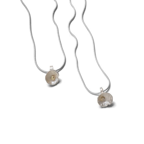 Small Acorn Cup pendant in sterling silver with 18kt gold or Diamond accent