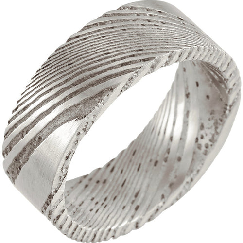 Damascus Steel 8 mm Flat Patterned Band