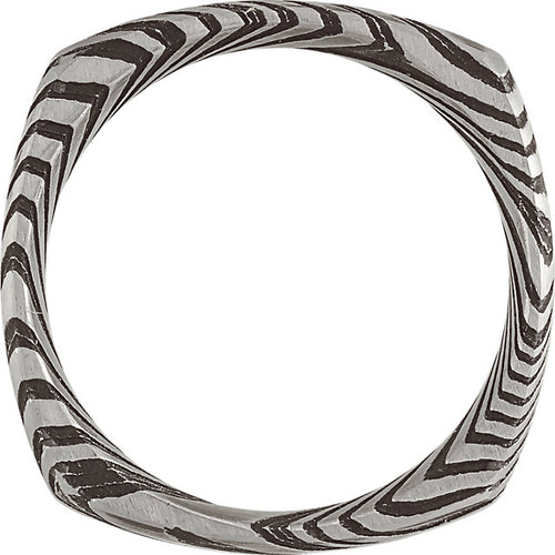 Damascus Steel 8 mm Patterned Square Band