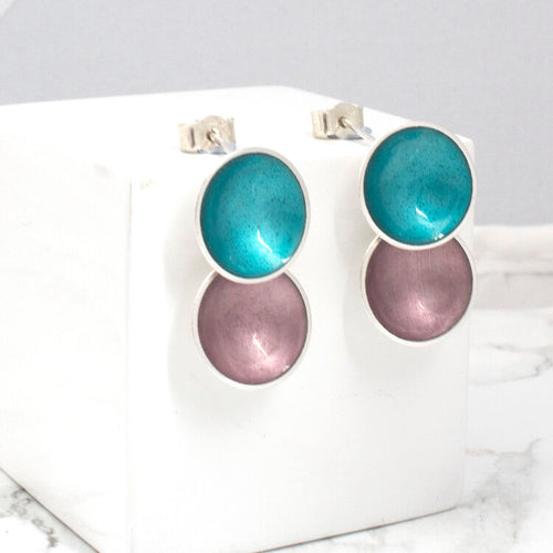 Halo Silver and Colorful Small Enamel Double Drop Earrings