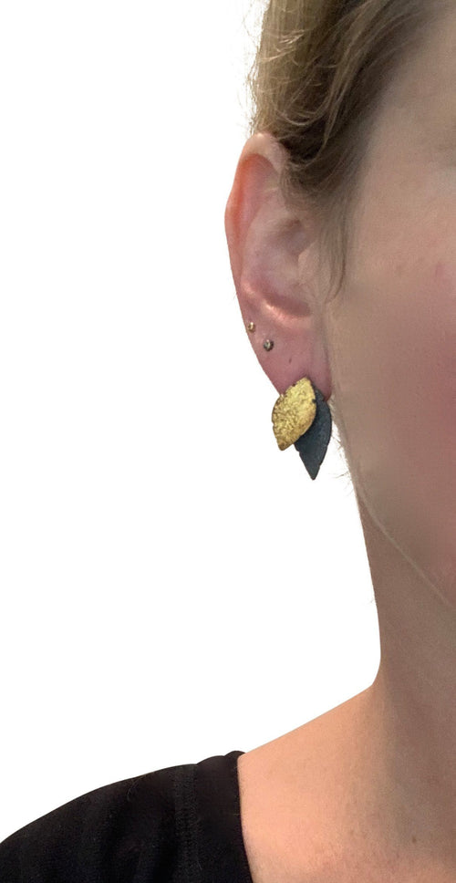 Small Double Leaf Stud with Gold - OX