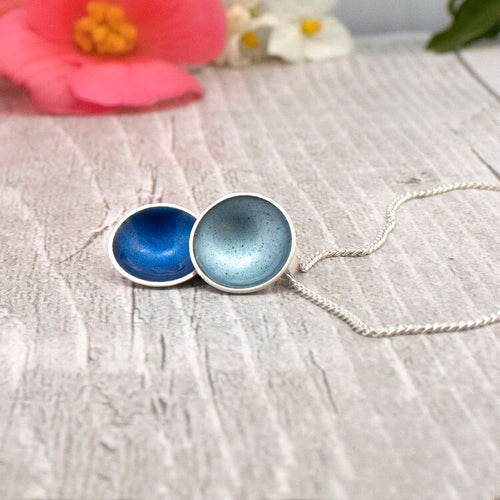 Halo Silver and Enamel Double Small Drop Necklace