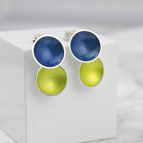 Halo Silver and Colorful Medium Enamel Double Drop Earrings