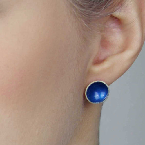 Large Enamel and Silver Stud Earrings
