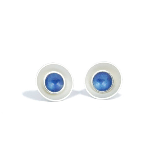 Large Enamel and Silver Target Studs Earrings - Inner Enamel