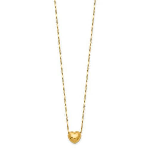 "Charming Delicate Reversible 14k Gold Heart Charm Necklace with 16"" Chain"