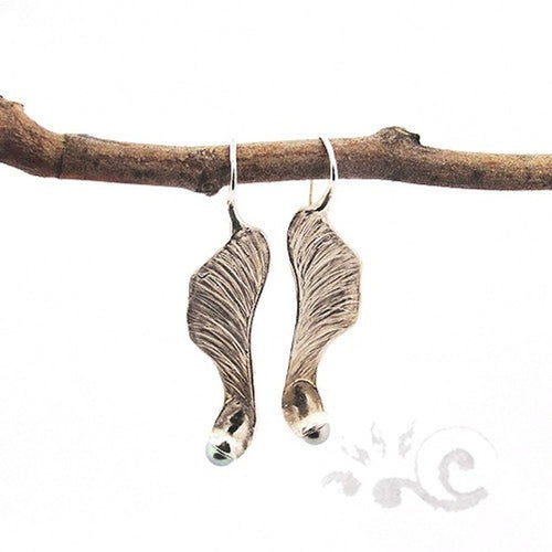 Samara Maple Fruit Hand made Silver Earrings
