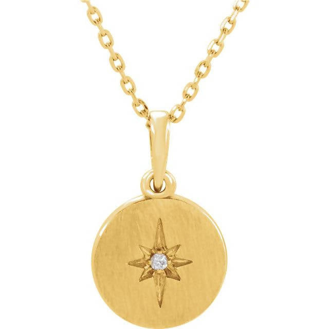 14k Gold and Diamond Starburst Necklace