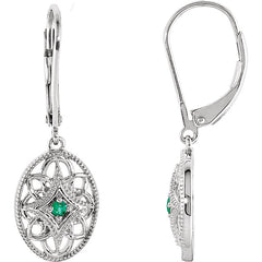 Vintage Style Sterling Silver Emerald Lever Back Earrings