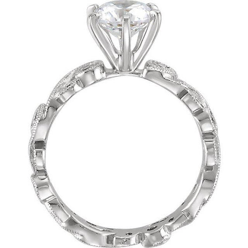 Floral 14K White Gold Round Diamond Semi-Mount Engagement Ring