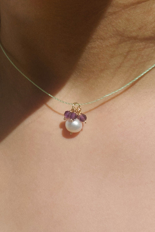 Flower Necklace with Amethyst