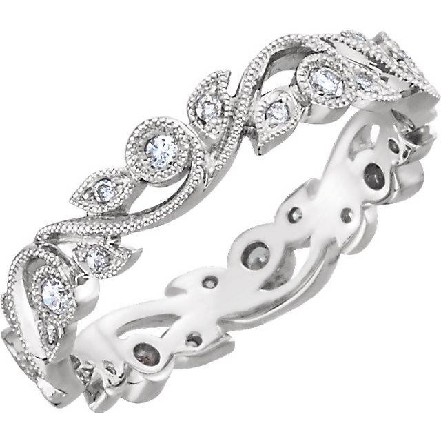 Vintage Inspired Feminine 14K White Gold Diamond Eternity Band
