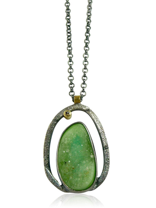Green Druzy Pinnacle Pendant