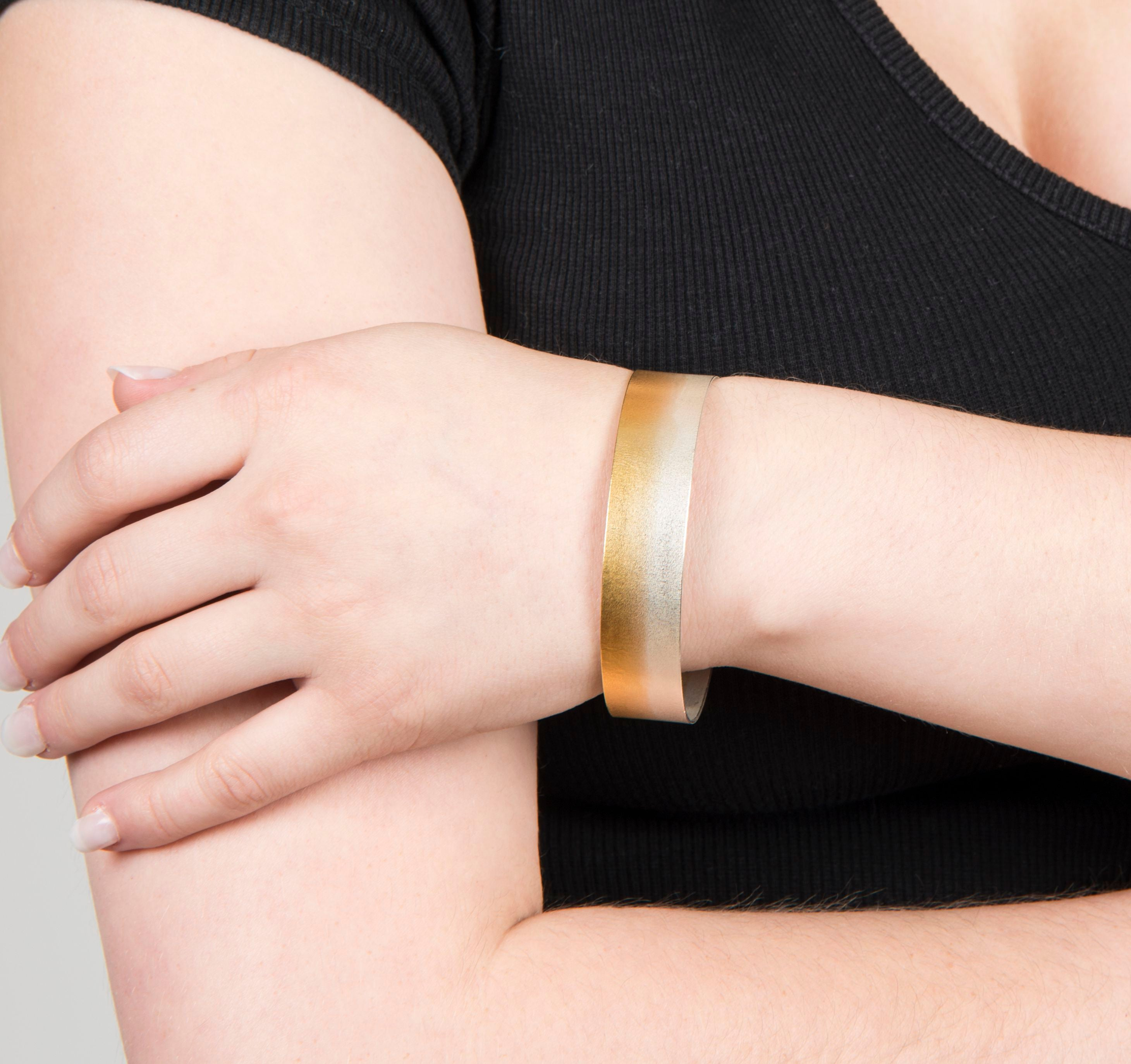Electra Cuff Bracelet, textured sterling silver and 24k gold-plating - Lireille