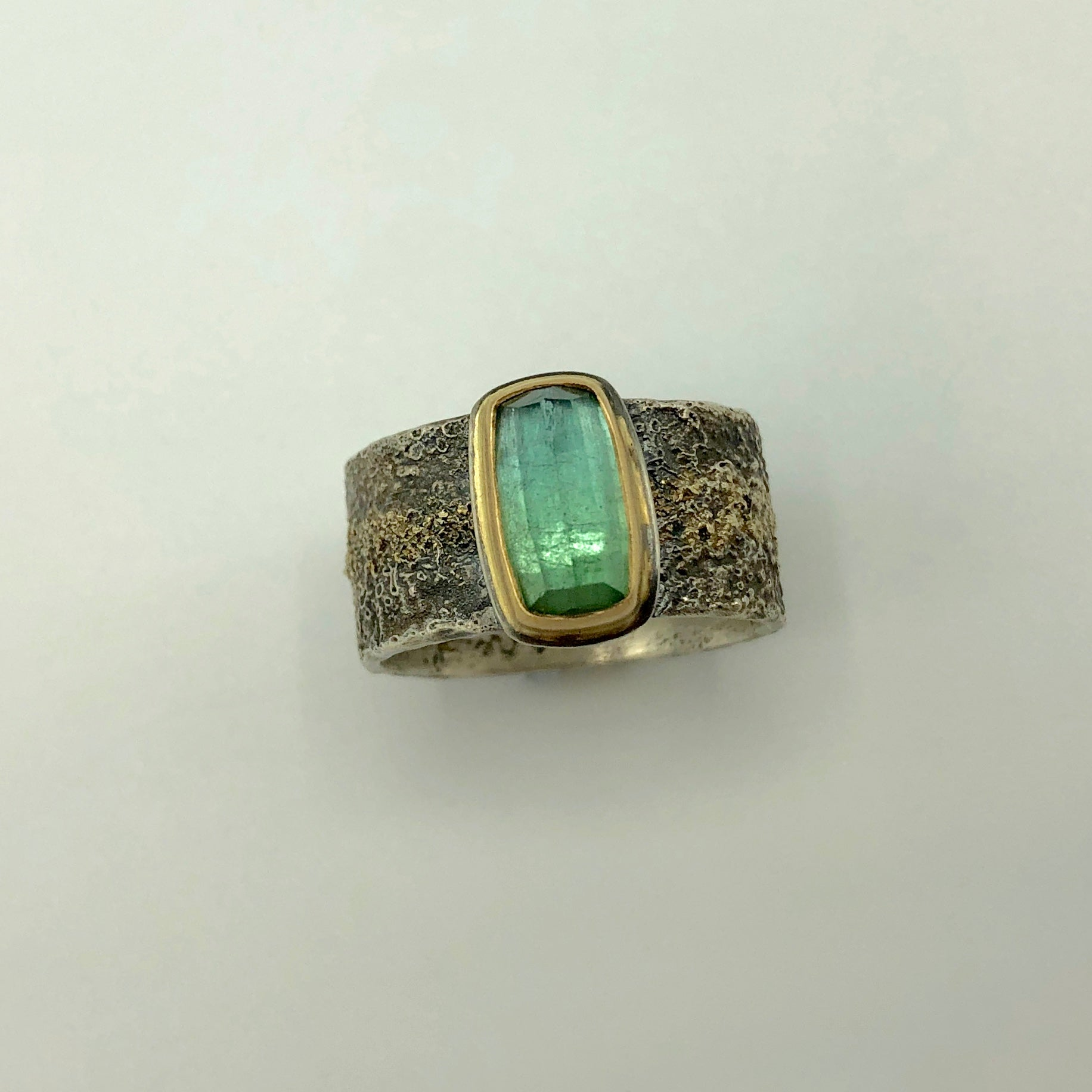 Bright Green Tourmaline Crystal Ring
