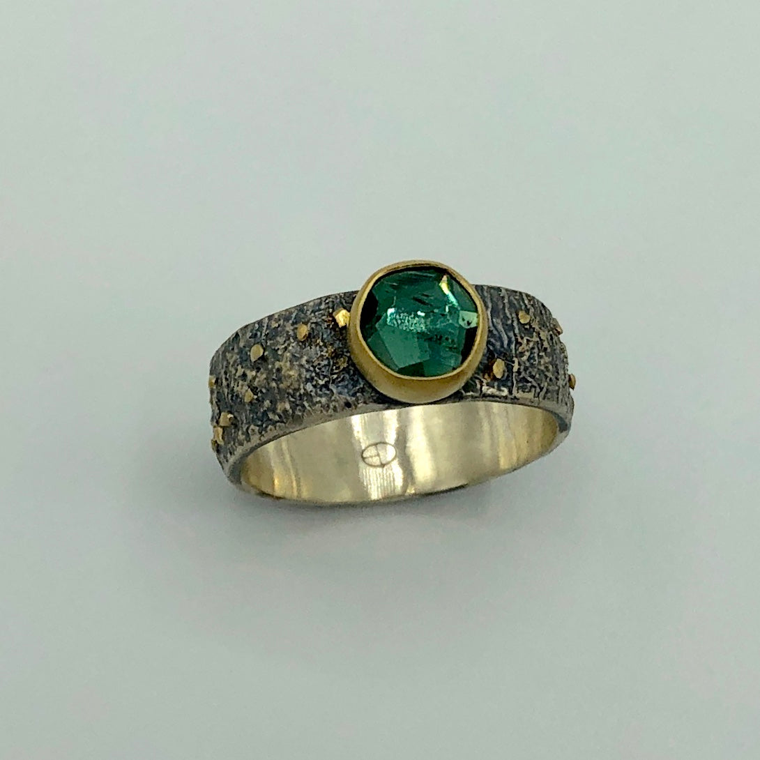 Brazilian Rose Cut Emerald Green Tourmaline Ring