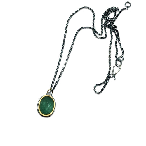 Brazilian Green Tourmaline Cabochon Necklace