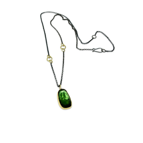Brazilian Rose Cut Large Green Tourmaline Necklace