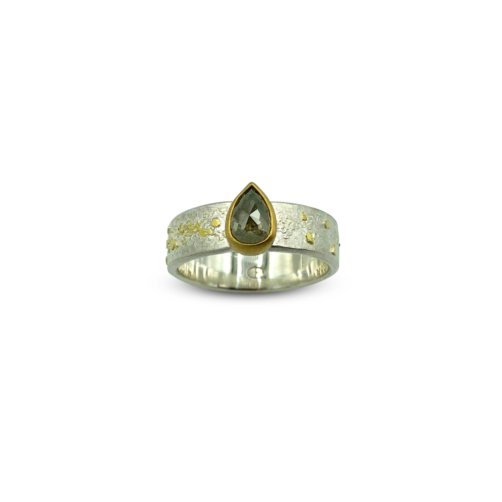 Natural Rose Cut Pear Diamond Ring