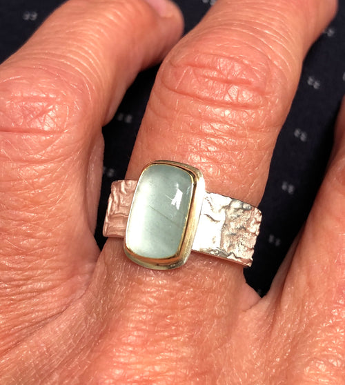 Brazilian Aquamarine Cushion Cabochon Ring