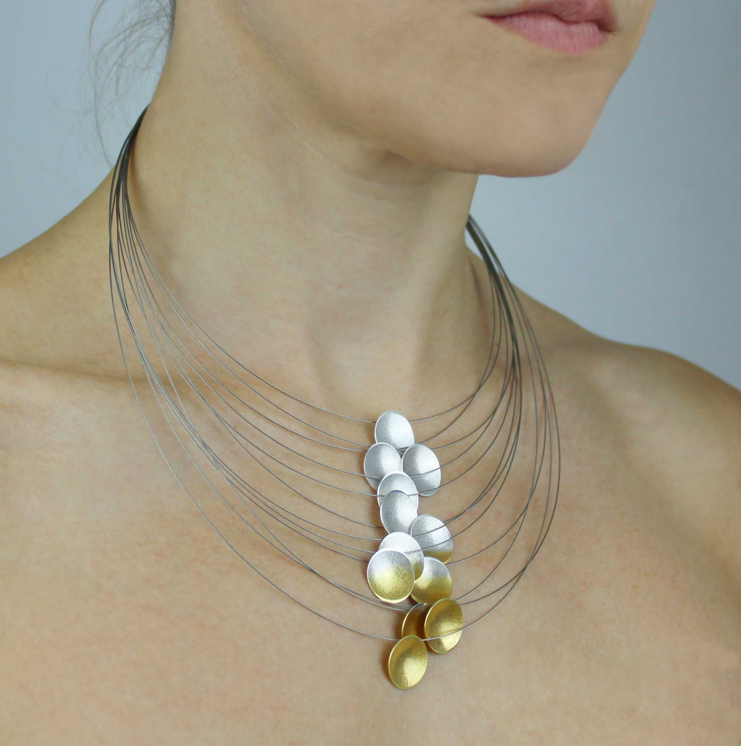 Silver and Gold Ombre Multi-Strand Electra Necklace