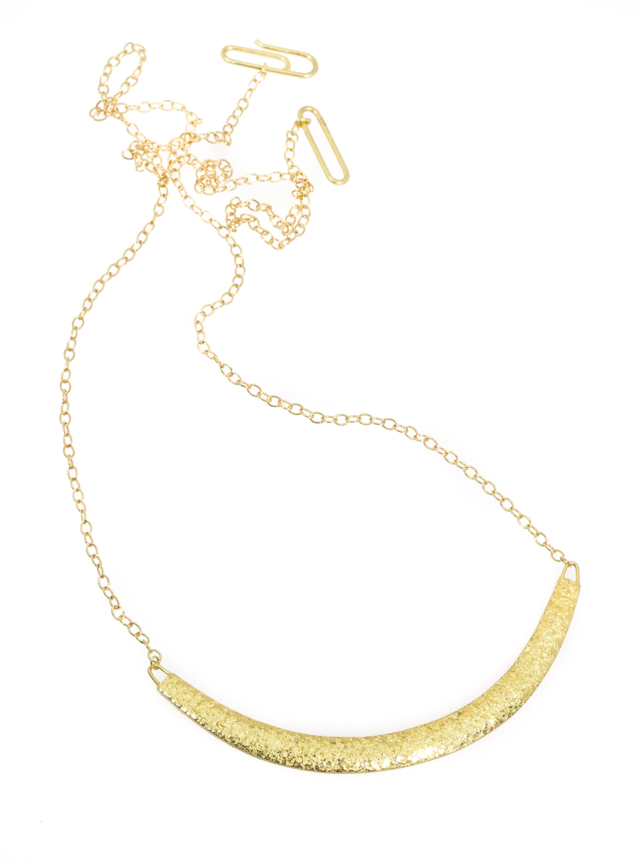 Compressed Sand Bar Necklace in solid 18k gold